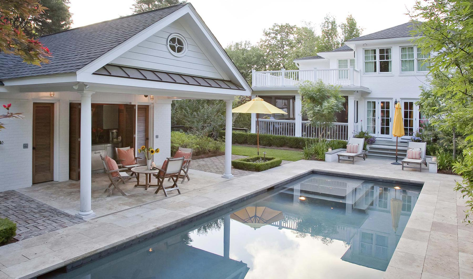 Outdoor Living Pool and Covered Outdoor Grill Space