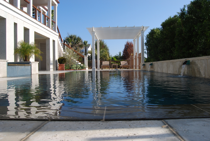 Perimeter Overflow Swimming Pool And Spa Located On Isle