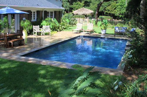Rectangle Swimming Pool With Water Features Located In Mt Pleasant Sc Aqua Blue Pools