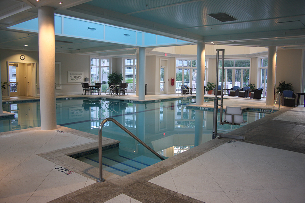 Marriott surfwatch indoor pool and spa aqua blue pools for Pool showcase