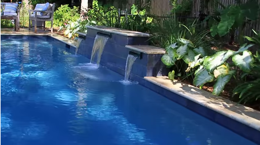 rectangle swimming pool with water features located in mt pleasant sc aqua blue pools - Rectangle Pool With Water Feature
