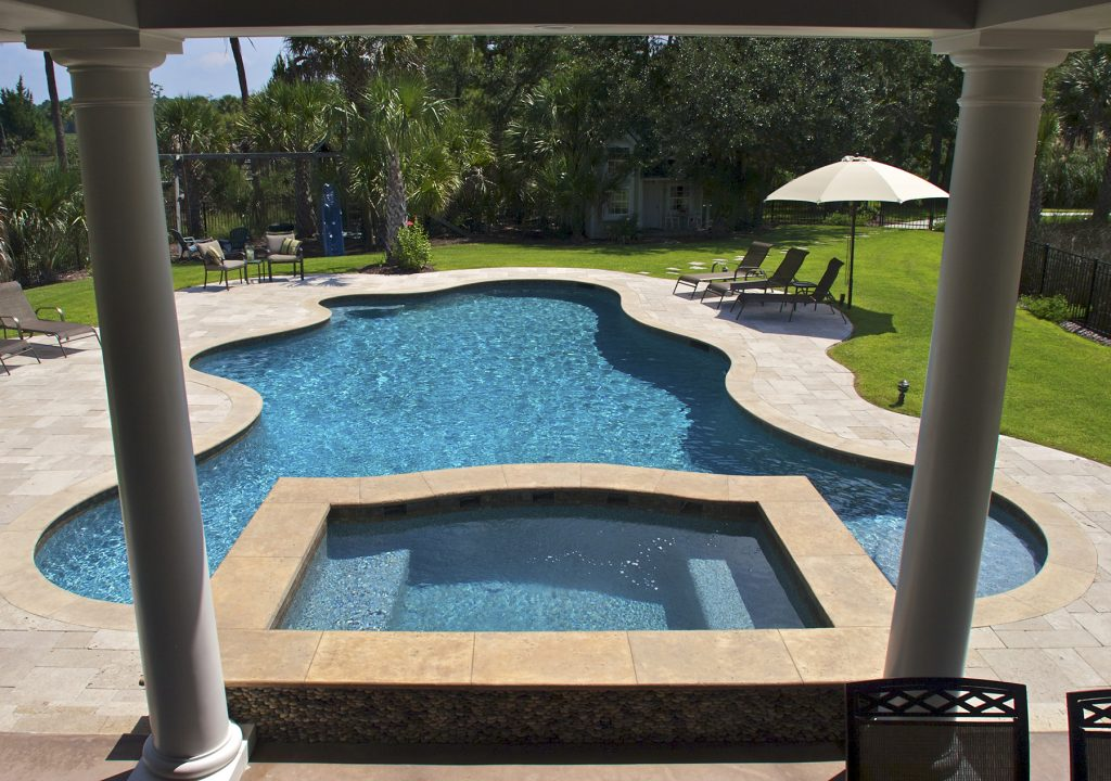 Free form pool spa combo in dunes west sc aqua blue pools for Pool showcase
