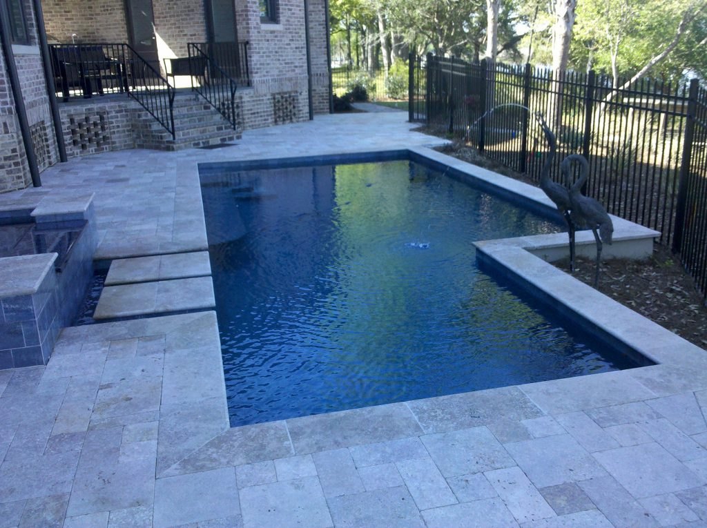 Scenic View Geometric Pool Spa Combo With Stone Steps