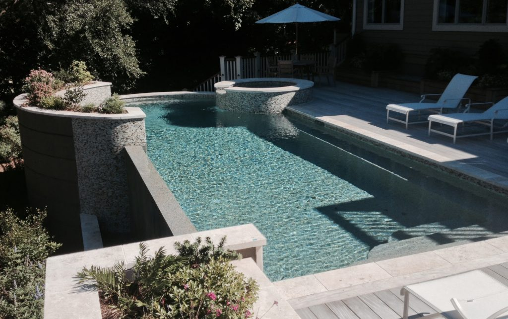 Curved Infinity Pool Spa Combo With Planters Aqua Blue Pools