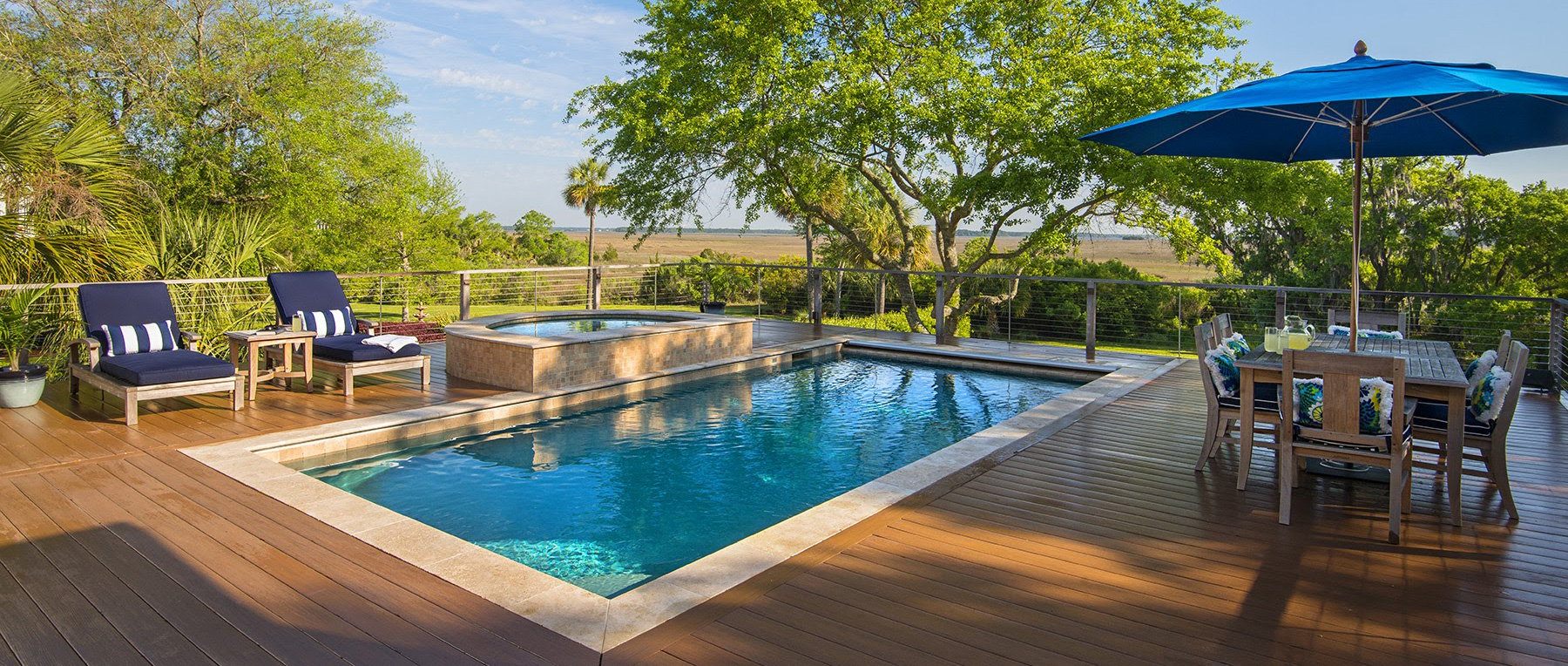 Elevated Pool elevated pool spa combo in deck | aqua blue pools