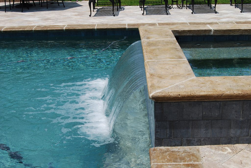 Rectangle Pool With Water Feature geometric pool with spa waterfall on two sides | aqua blue pools