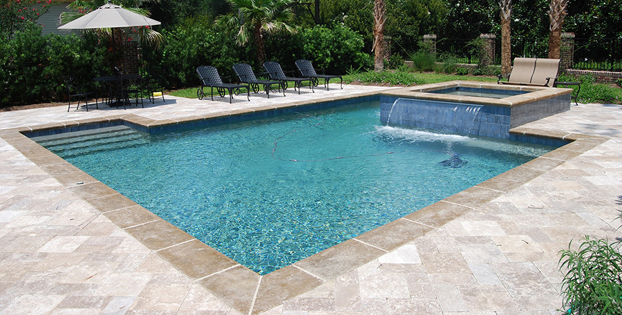 rectangular pool spa water feature - Rectangle Pool With Water Feature