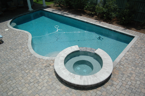 Swimming Pool Spa Combo Design With Automatic Pool Cleaner - Aqua