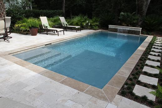 Sheer descent swimming pool waterfall feature aqua blue pools - Residential swimming pool designs ...