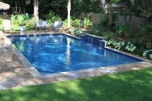 Rectangle swimming pool with water features located in mt for Pool design rectangular