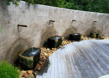 Waterfall Water Wall With Spillways Aqua Blue Pools
