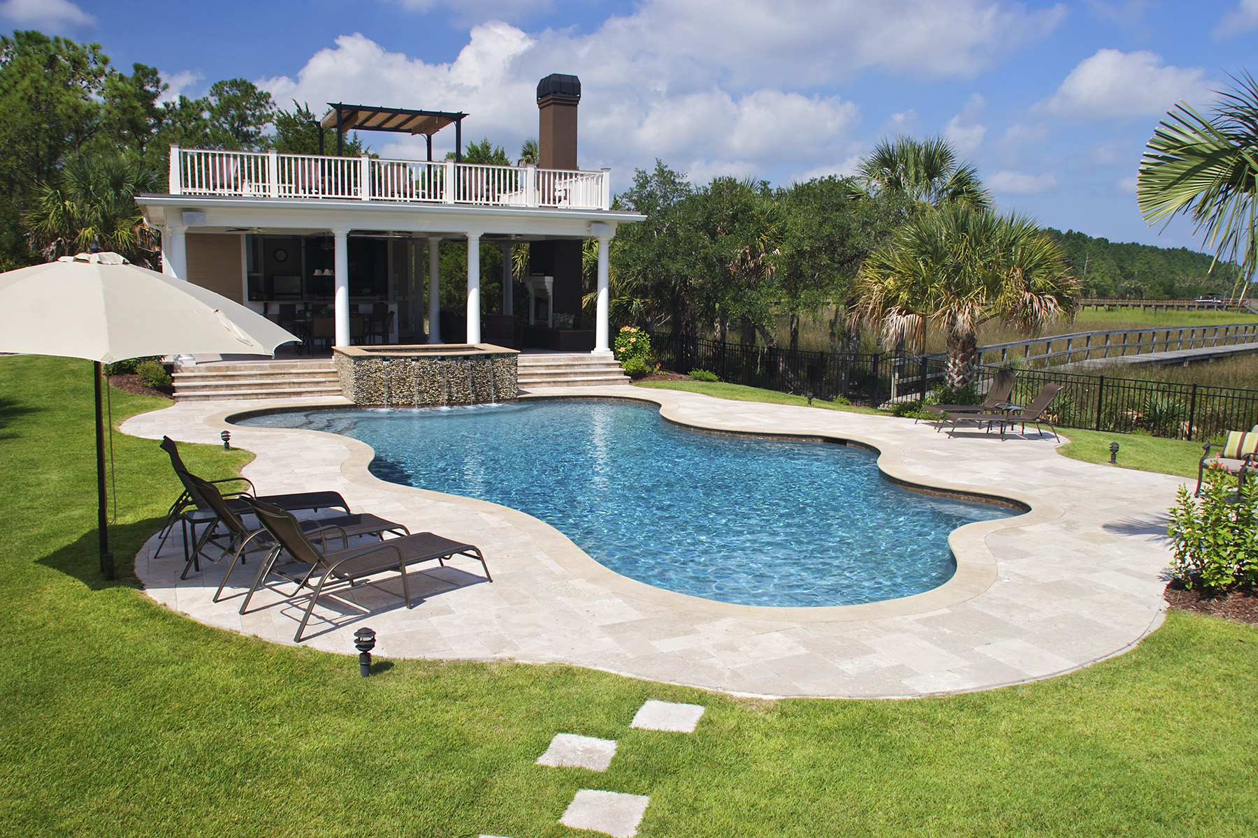Free Form Pool Spa Combo In Dunes West Sc Aqua Blue Pools