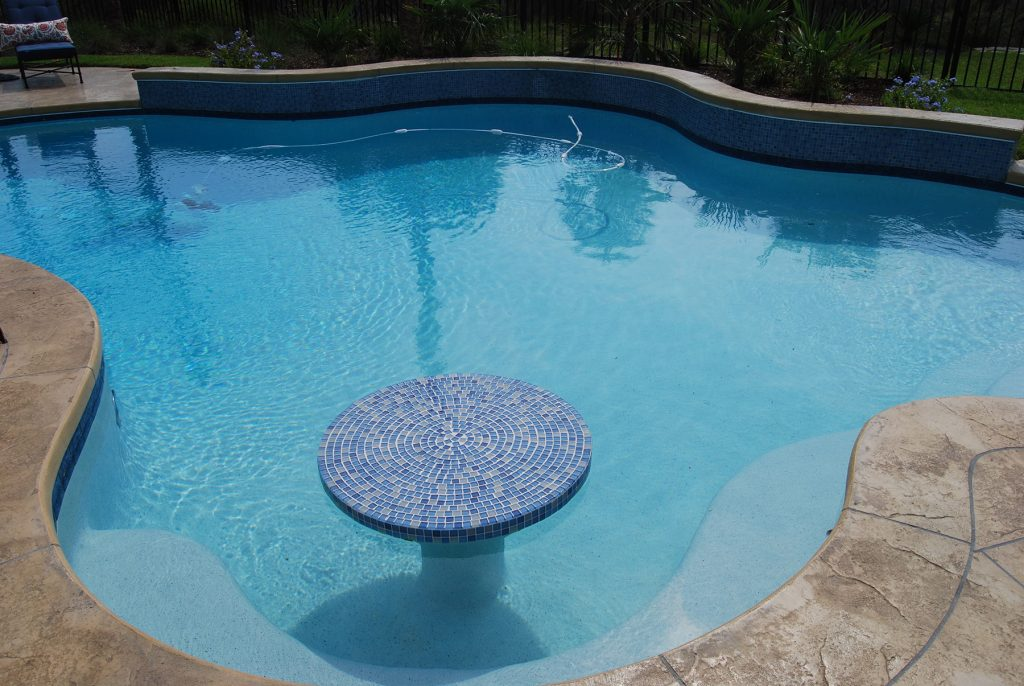 Free Form Pool With Water Table Aqua Blue Pools