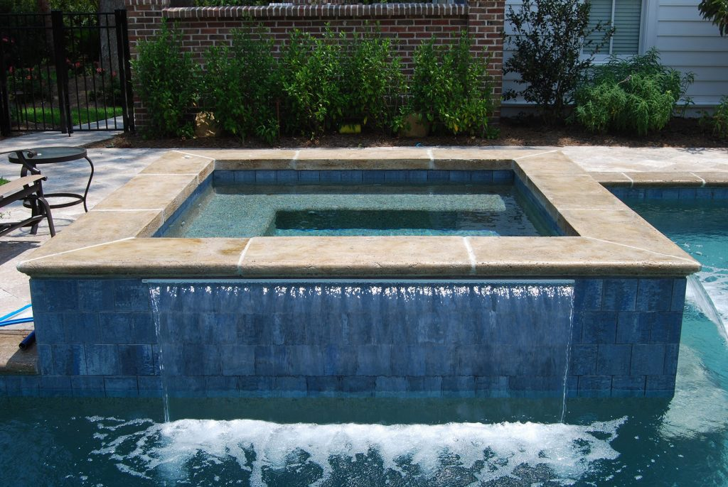 Geometric Pool With Spa Waterfall On Two Sides Aqua Blue