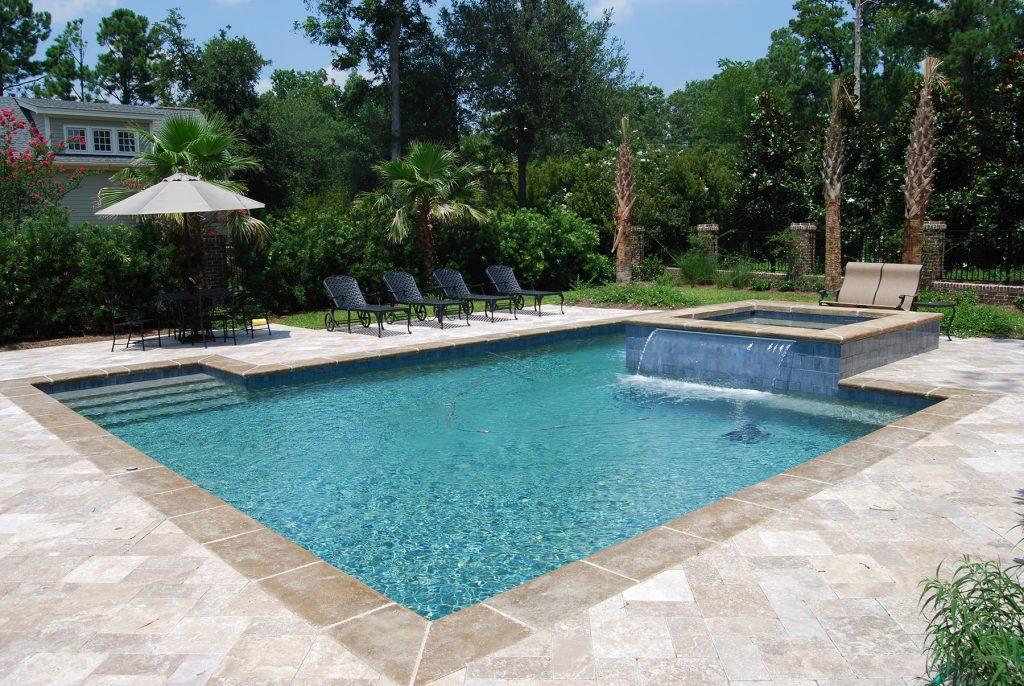 Geometric Pool With Spa Waterfall On Two Sides Aqua Blue