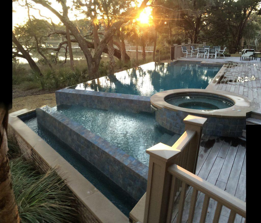 Water Front Infinity Pool Spa Combo Aqua Blue Pools