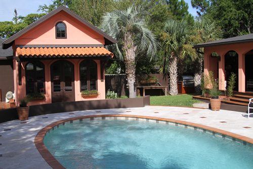 Oval Shaped Swimming Pool Located On Isle Of Palms Sc