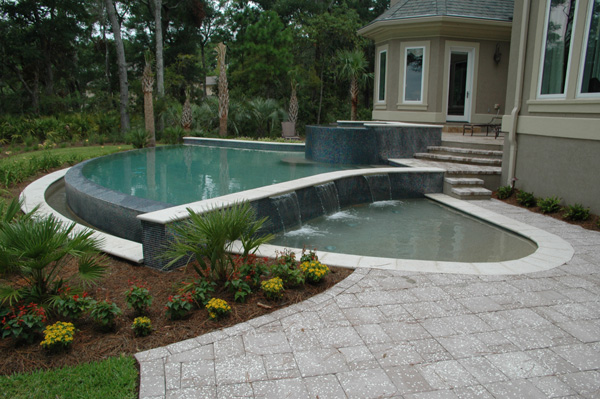 Free Form Aqua Blue Pools Custom Swimming Pools