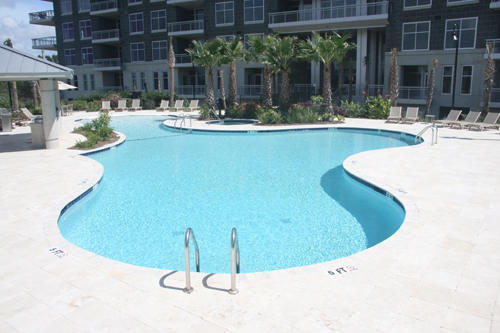 Free Form Swimming Pool Located In Mt Pleasant Condo Community Aqua Blue Pools