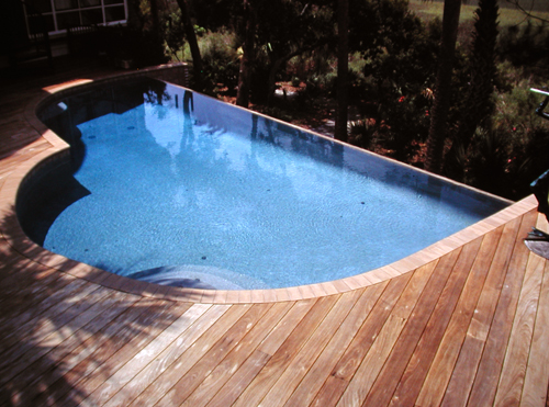 infinity pool wood deck