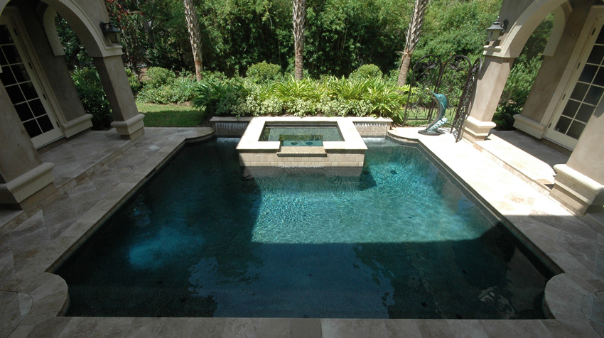 Courtyard pool and spa aqua blue pools for Courtyard designs with spa