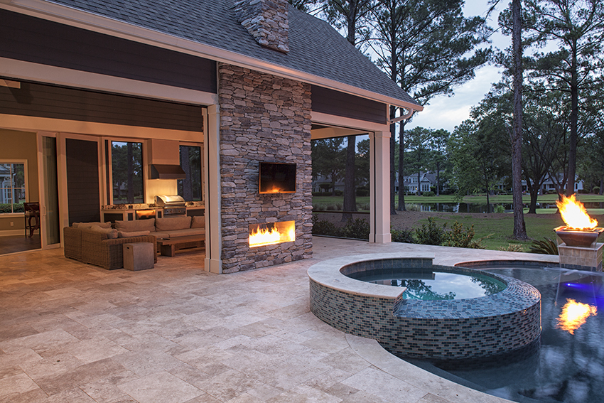 Infinity Pool With Fire And Water Features In Bluffton Sc