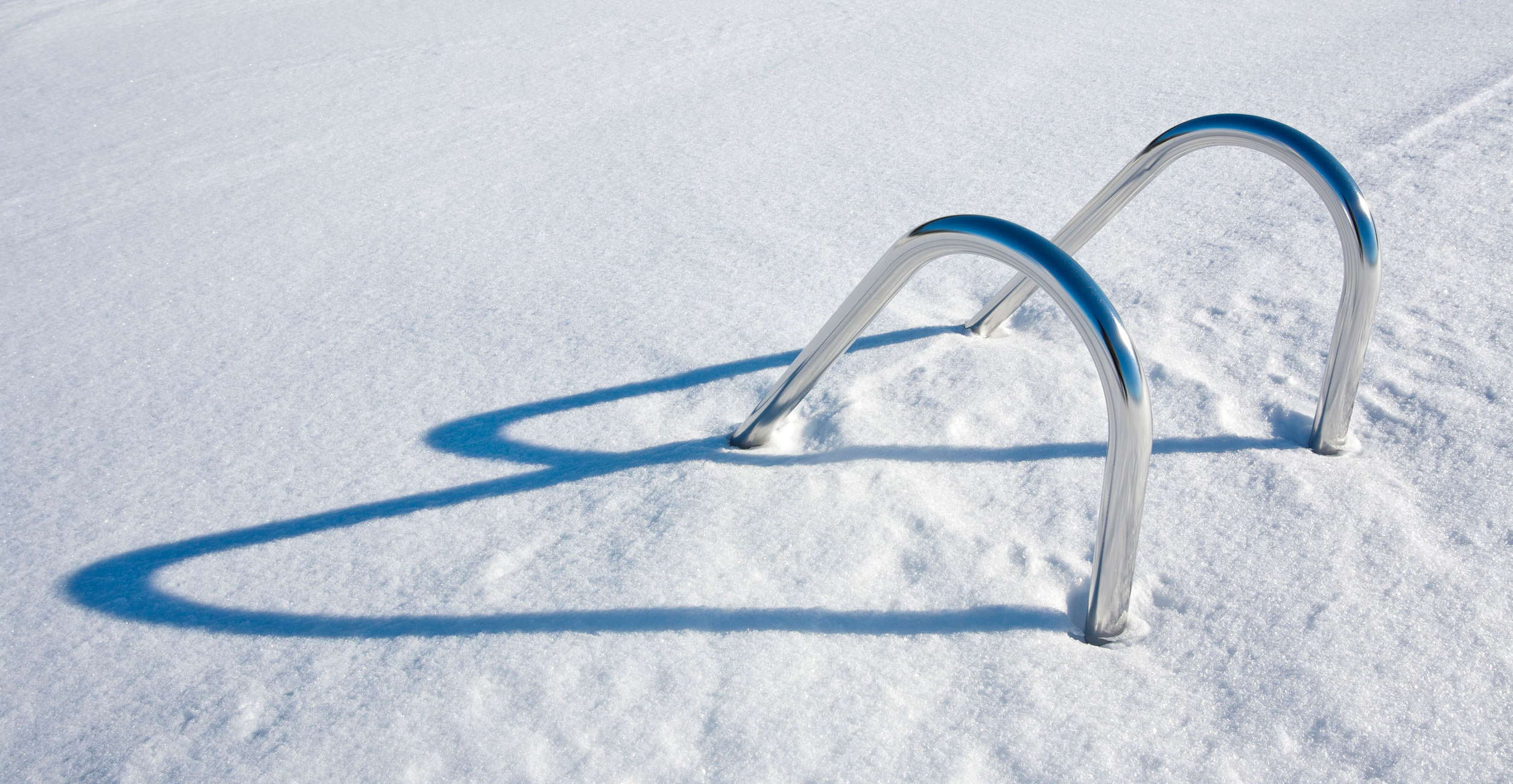 Swimming Pool Hand Rails in snow