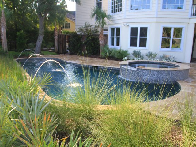 Backyard Freeform Pool with Custom Spa and Water Features