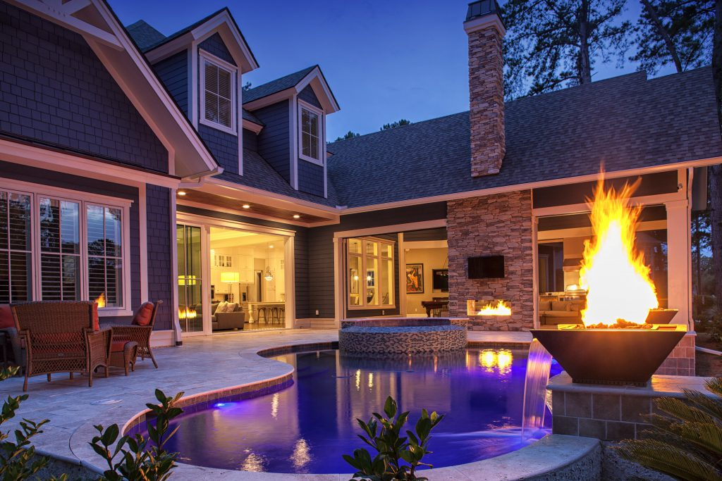 Luxury Freeform Pool with Fire Feature and Spa
