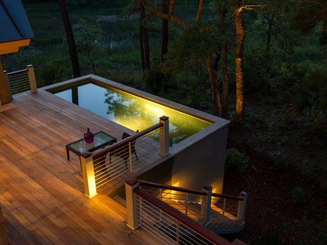 Elevated Plunge Pool at Night with Lights