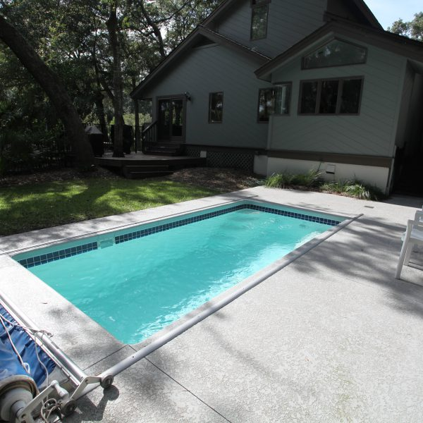 Inground Backyard Pool with Cover Side View