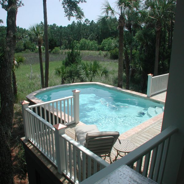 Custom Curved Elevated Pool Deck View