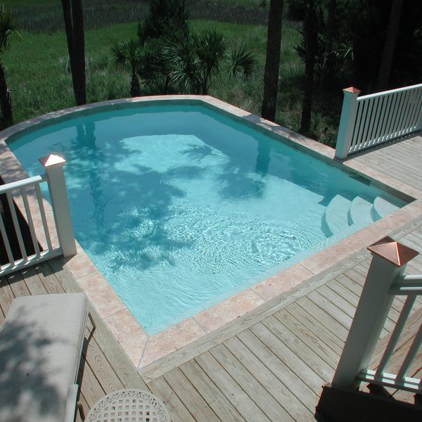 Custom Curved Elevated Pool Top View