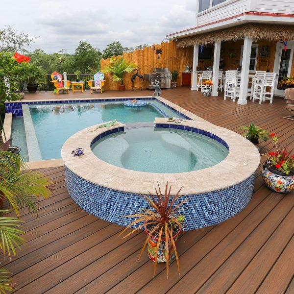 Custom Geometric Pool with Spa