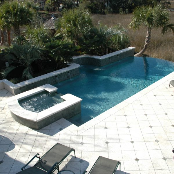 Infinity Pool with Custom Spar and Water Feature