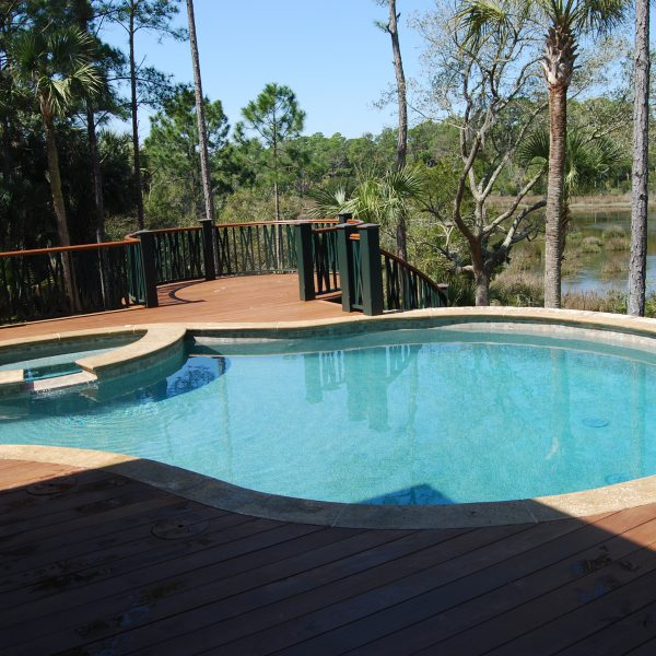 Elevated Pool with Custom Semi-Circle Spa Deck View