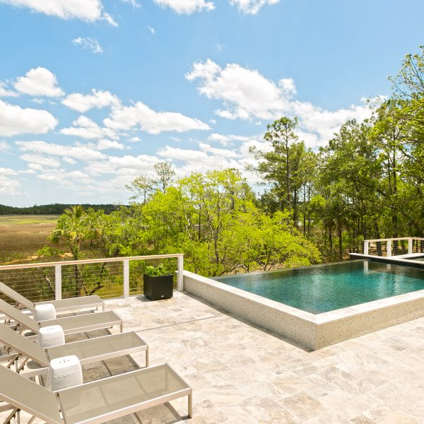 Custom Infinity Pool overlooking Trees in a Field Left View