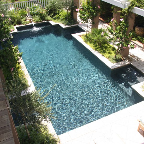 Custom Geometric Pool with Water Feature