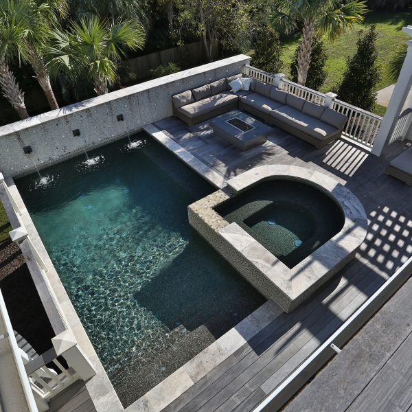 Custom Elevated Pool with Custom Spa and Seating Area Top View