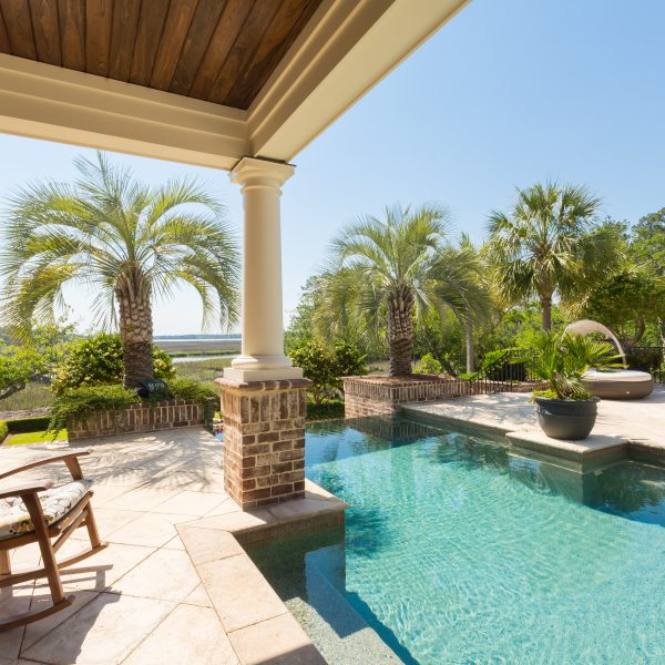 Custom Shaped Geometric Pool with Palm Trees Center View