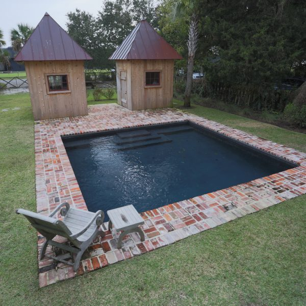 Custom Inground Geometric Pool with Brickwork Surround Front View