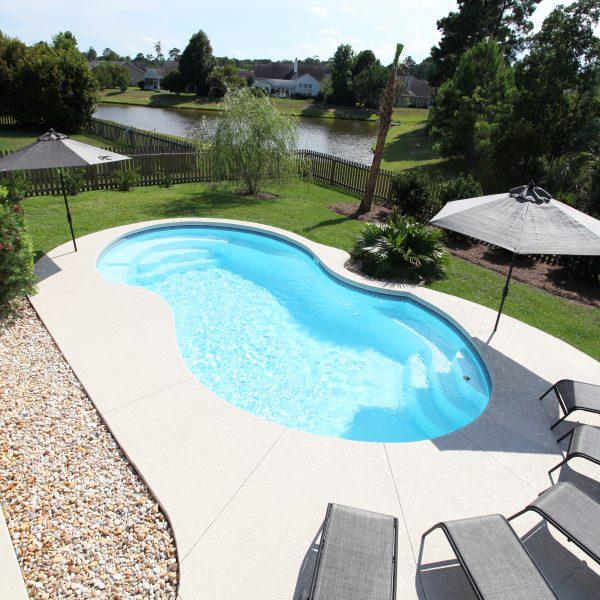 Family Backyard Fiberglass Pool Top View