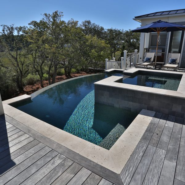 Curved Infinity Pool with Spa Side View