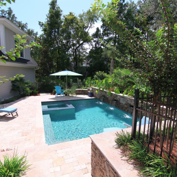 Custom Inground Pool with Water Features and Spa