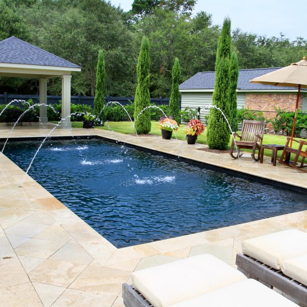 Custom Geometric Pool with Water Fountains