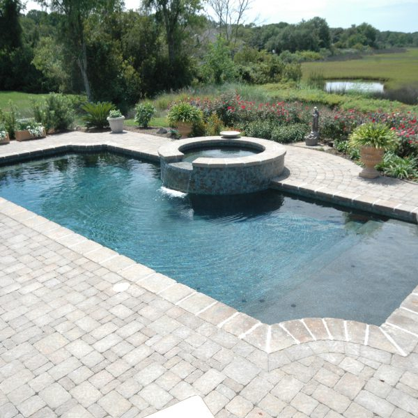 Geometric Inground Pool with Custom Spa