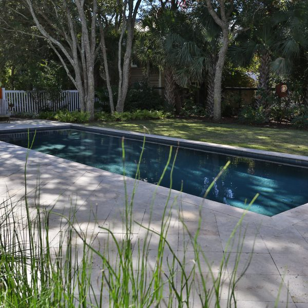 Geometric Pool Backyard Side View