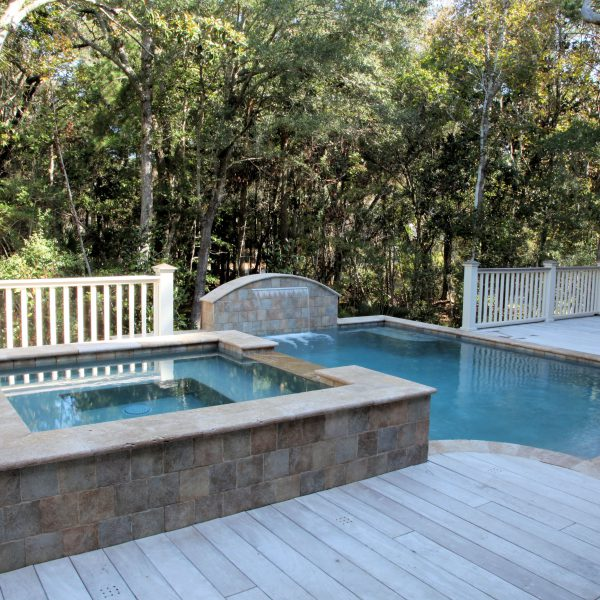Elevated Pool with Custom Spa and Water Feature Left Side View