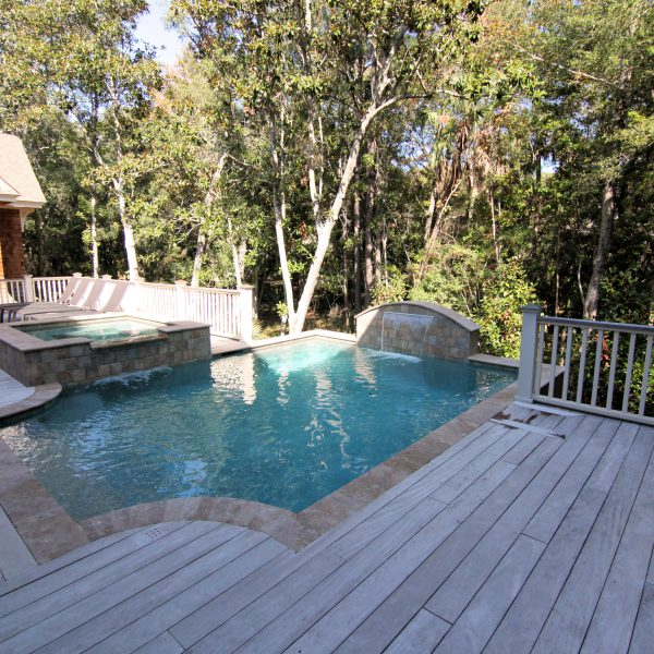 Elevated Pool with Custom Spa and Water Feature Right Side View