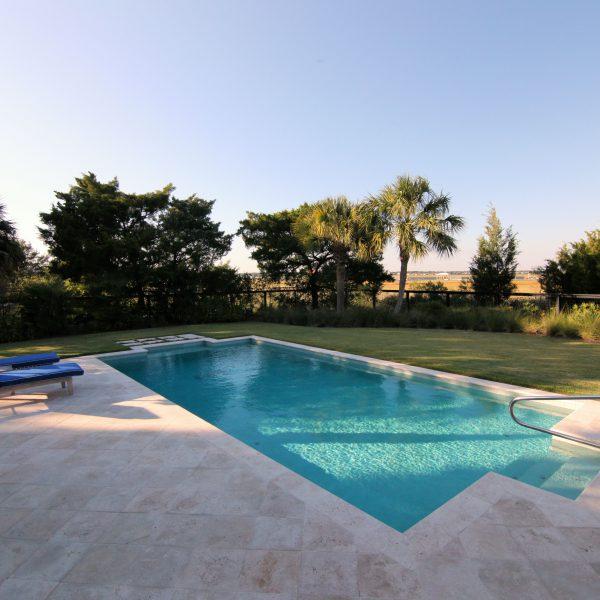 Backyard Family Swimming Pool - Geometric Design Front View